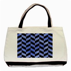 Chevron1 Black Marble & Blue Watercolor Basic Tote Bag by trendistuff