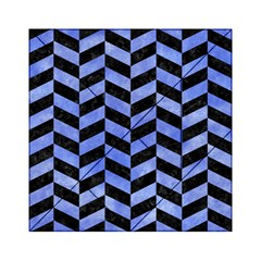 Chevron1 Black Marble & Blue Watercolor Acrylic Tangram Puzzle (6  X 6 )