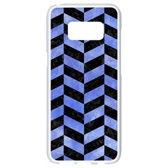 Chevron1 Black Marble & Blue Watercolor Samsung Galaxy S8 White Seamless Case by trendistuff