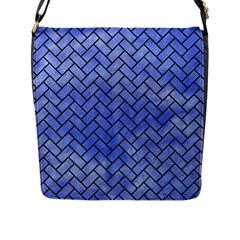 Brick2 Black Marble & Blue Watercolor (r) Flap Closure Messenger Bag (l) by trendistuff