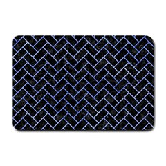 Brick2 Black Marble & Blue Watercolor Small Doormat by trendistuff