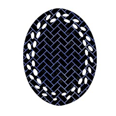 Brick2 Black Marble & Blue Watercolor Ornament (oval Filigree) by trendistuff