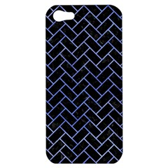 Brick2 Black Marble & Blue Watercolor Apple Iphone 5 Hardshell Case by trendistuff