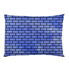 Brick1 Black Marble & Blue Watercolor (r) Pillow Case by trendistuff