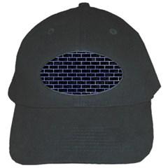 Brick1 Black Marble & Blue Watercolor Black Cap by trendistuff