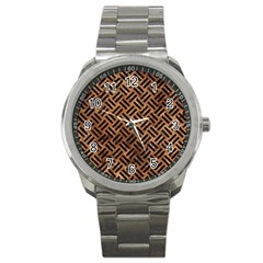 Woven2 Black Marble & Brown Stone (r) Sport Metal Watch by trendistuff