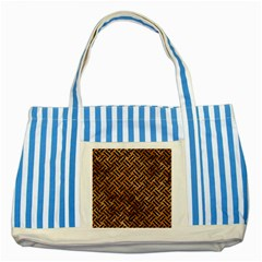 Woven2 Black Marble & Brown Stone (r) Striped Blue Tote Bag by trendistuff