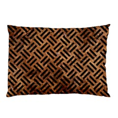 Woven2 Black Marble & Brown Stone (r) Pillow Case by trendistuff