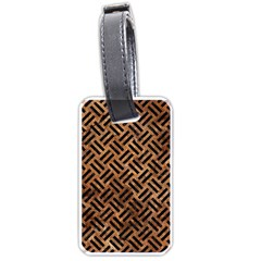 Woven2 Black Marble & Brown Stone (r) Luggage Tag (one Side) by trendistuff