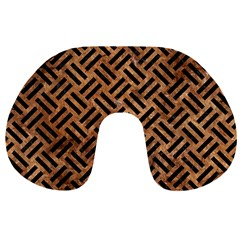 Woven2 Black Marble & Brown Stone (r) Travel Neck Pillow by trendistuff