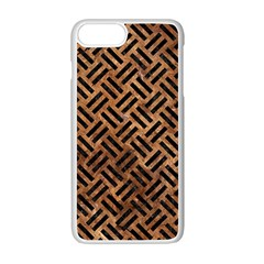 Woven2 Black Marble & Brown Stone (r) Apple Iphone 7 Plus White Seamless Case by trendistuff