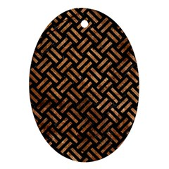 Woven2 Black Marble & Brown Stone Ornament (oval) by trendistuff