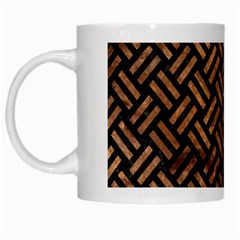 Woven2 Black Marble & Brown Stone White Mug by trendistuff