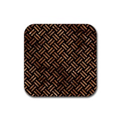 Woven2 Black Marble & Brown Stone Rubber Square Coaster (4 Pack) by trendistuff