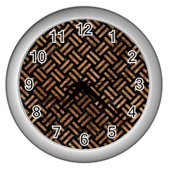 Woven2 Black Marble & Brown Stone Wall Clock (silver) by trendistuff