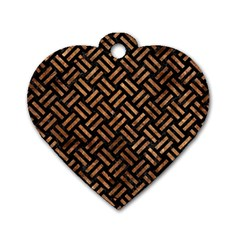 Woven2 Black Marble & Brown Stone Dog Tag Heart (two Sides) by trendistuff