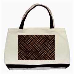 Woven2 Black Marble & Brown Stone Basic Tote Bag (two Sides) by trendistuff
