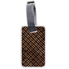 Woven2 Black Marble & Brown Stone Luggage Tag (one Side) by trendistuff