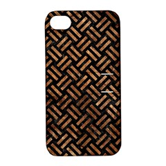 Woven2 Black Marble & Brown Stone Apple Iphone 4/4s Hardshell Case With Stand by trendistuff