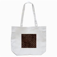 Woven2 Black Marble & Brown Stone Tote Bag (white) by trendistuff
