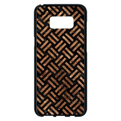 Woven2 Black Marble & Brown Stone Samsung Galaxy S8 Plus Black Seamless Case by trendistuff