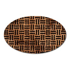 Woven1 Black Marble & Brown Stone (r) Magnet (oval) by trendistuff