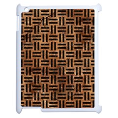 Woven1 Black Marble & Brown Stone (r) Apple Ipad 2 Case (white) by trendistuff