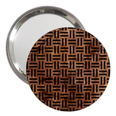 Woven1 Black Marble & Brown Stone (r) 3  Handbag Mirror by trendistuff