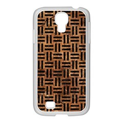 Woven1 Black Marble & Brown Stone (r) Samsung Galaxy S4 I9500/ I9505 Case (white) by trendistuff