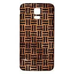 Woven1 Black Marble & Brown Stone (r) Samsung Galaxy S5 Back Case (white) by trendistuff