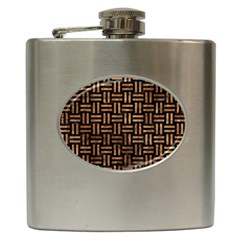 Woven1 Black Marble & Brown Stone Hip Flask (6 Oz) by trendistuff