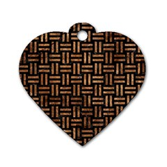Woven1 Black Marble & Brown Stone Dog Tag Heart (two Sides) by trendistuff