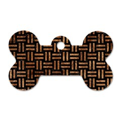 Woven1 Black Marble & Brown Stone Dog Tag Bone (one Side) by trendistuff