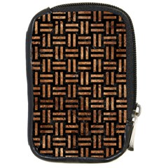 Woven1 Black Marble & Brown Stone Compact Camera Leather Case by trendistuff