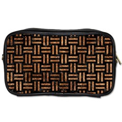 Woven1 Black Marble & Brown Stone Toiletries Bag (one Side) by trendistuff