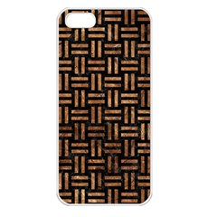 Woven1 Black Marble & Brown Stone Apple Iphone 5 Seamless Case (white) by trendistuff