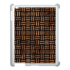 Woven1 Black Marble & Brown Stone Apple Ipad 3/4 Case (white) by trendistuff