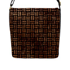 Woven1 Black Marble & Brown Stone Flap Closure Messenger Bag (l) by trendistuff