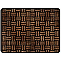 Woven1 Black Marble & Brown Stone Double Sided Fleece Blanket (large) by trendistuff