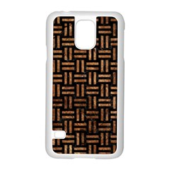 Woven1 Black Marble & Brown Stone Samsung Galaxy S5 Case (white) by trendistuff