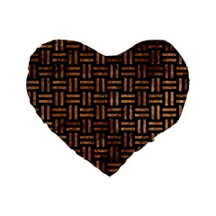 Woven1 Black Marble & Brown Stone Standard 16  Premium Flano Heart Shape Cushion  by trendistuff