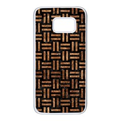 Woven1 Black Marble & Brown Stone Samsung Galaxy S7 White Seamless Case by trendistuff