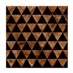 TRIANGLE3 BLACK MARBLE & BROWN STONE Tile Coaster Front