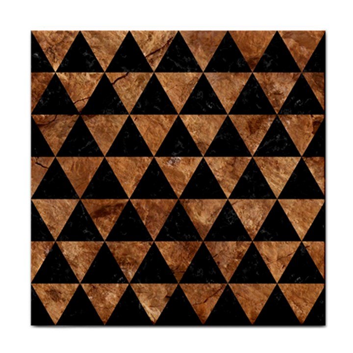 TRIANGLE3 BLACK MARBLE & BROWN STONE Tile Coaster