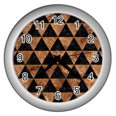 Triangle3 Black Marble & Brown Stone Wall Clock (silver) by trendistuff