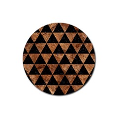Triangle3 Black Marble & Brown Stone Rubber Coaster (round) by trendistuff