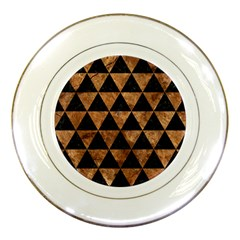 Triangle3 Black Marble & Brown Stone Porcelain Plate by trendistuff