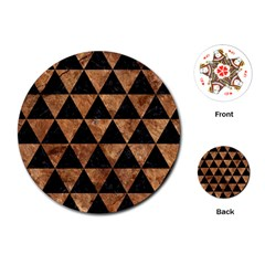 Triangle3 Black Marble & Brown Stone Playing Cards (round) by trendistuff