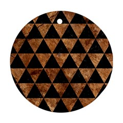 Triangle3 Black Marble & Brown Stone Round Ornament (two Sides) by trendistuff