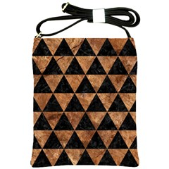 Triangle3 Black Marble & Brown Stone Shoulder Sling Bag by trendistuff